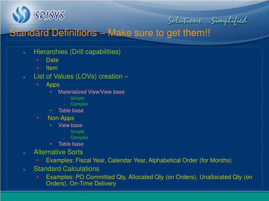 Standard Definitions – Make sure to get them!!