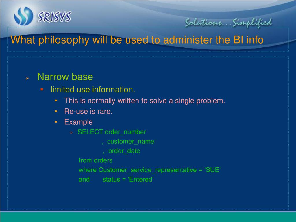 What philosophy will be used to administer the BI info