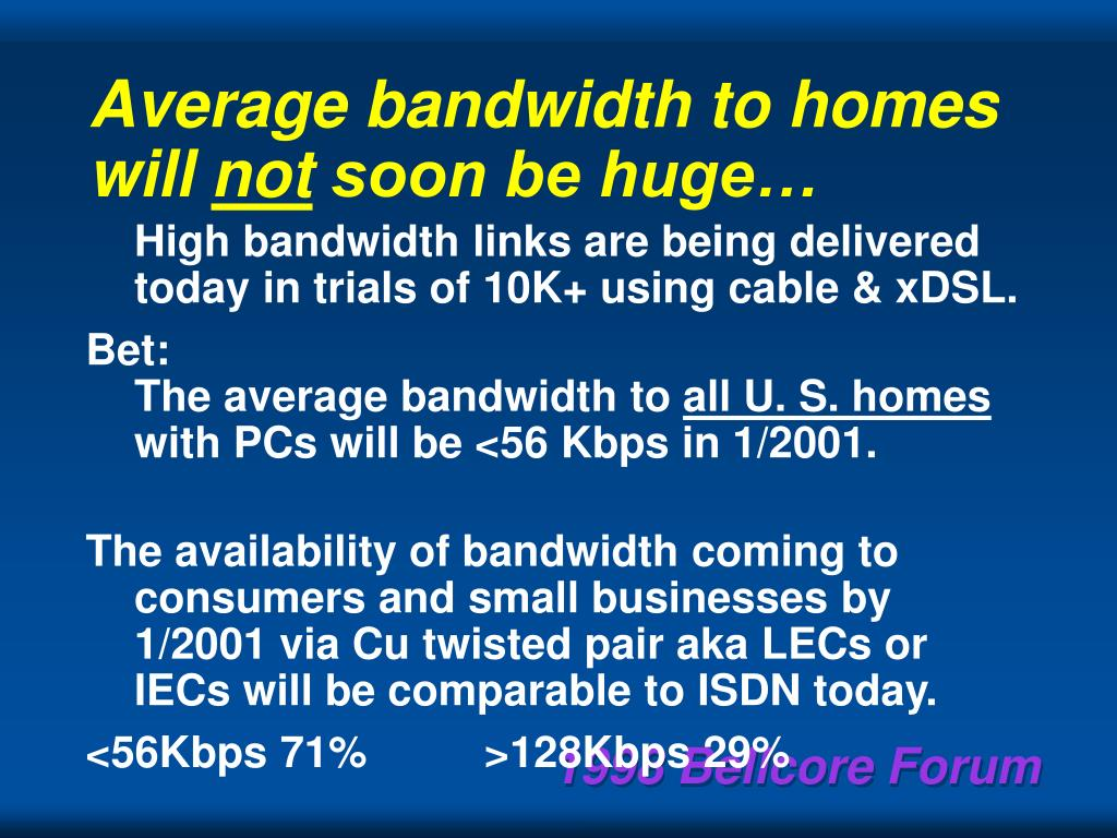 Average bandwidth to homes will