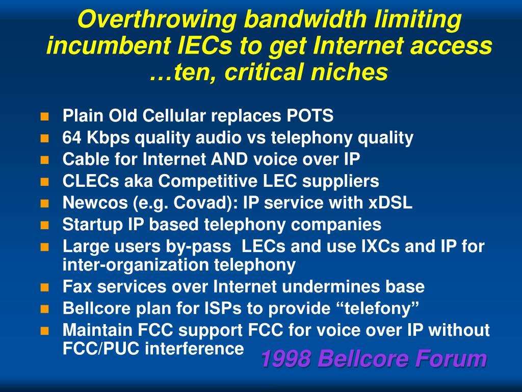 Overthrowing bandwidth limiting incumbent IECs to get Internet access …ten, critical niches