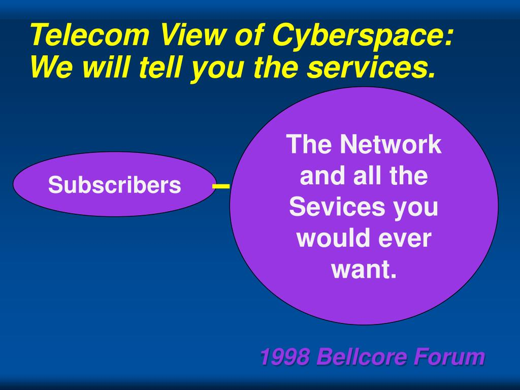 Telecom View of Cyberspace: We will tell you the services.