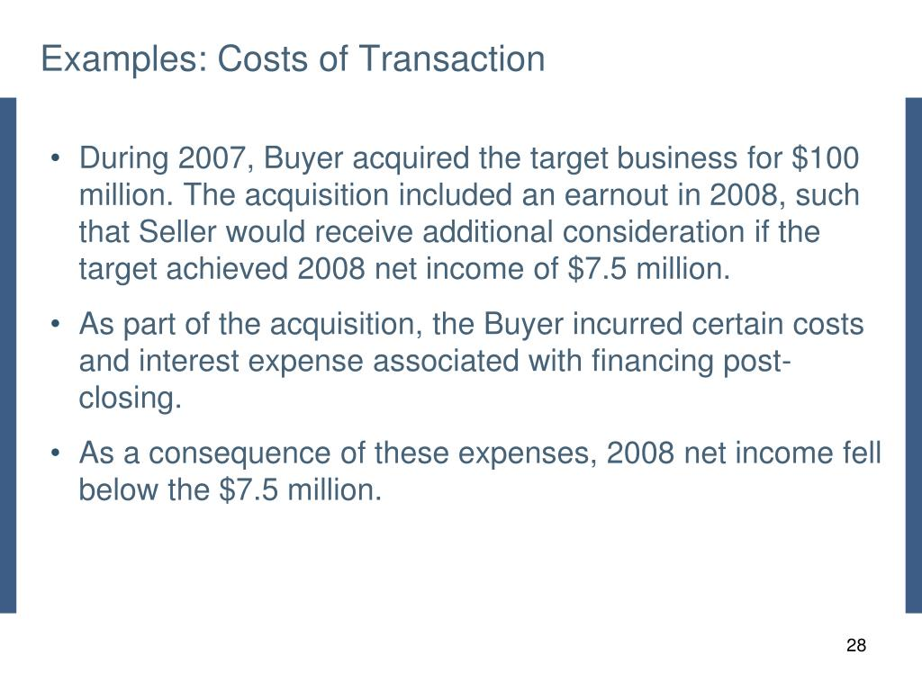 Examples: Costs of Transaction