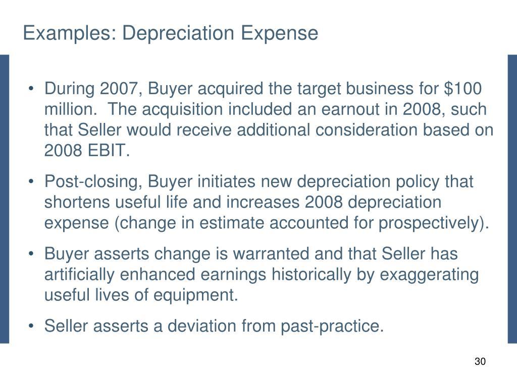 Examples: Depreciation Expense