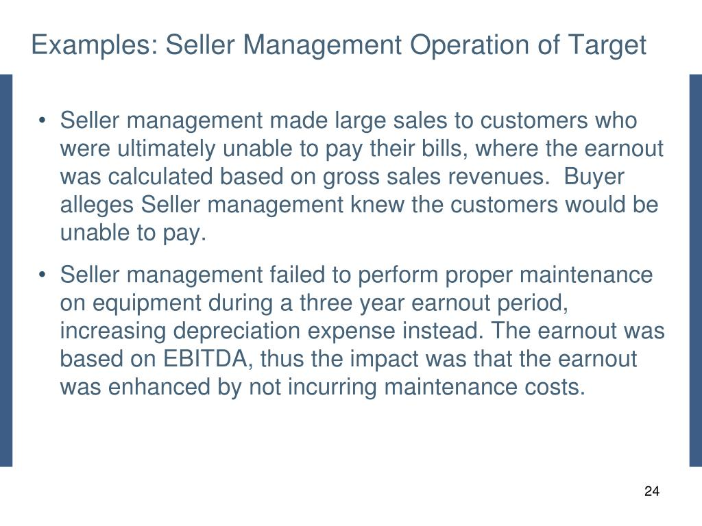 Examples: Seller Management Operation of Target