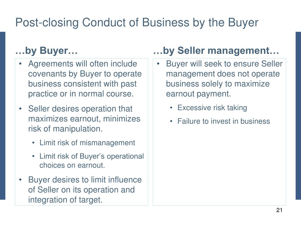 Post-closing Conduct of Business by the Buyer