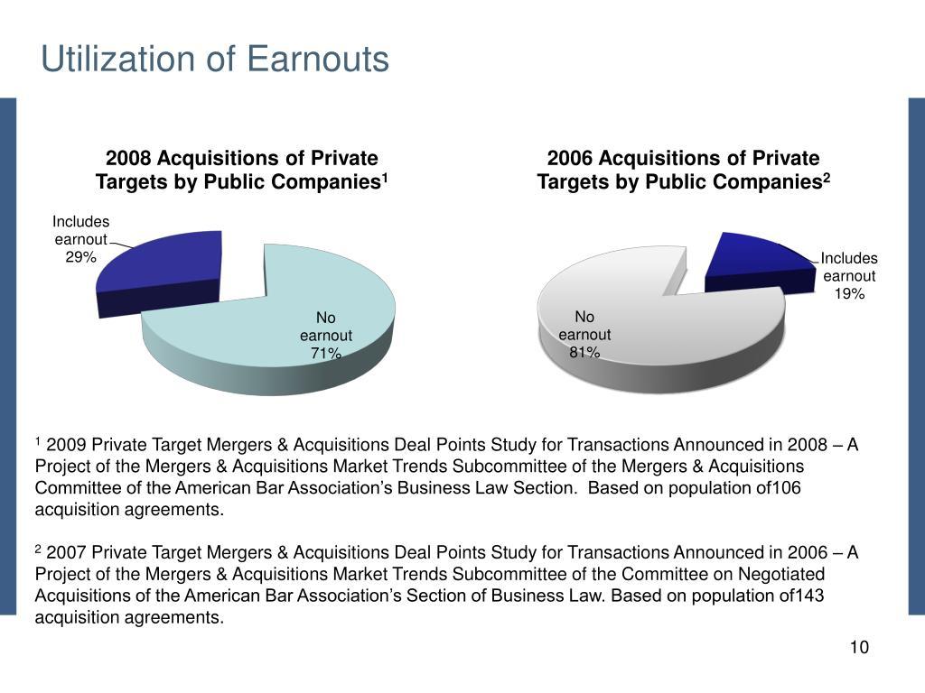 Utilization of Earnouts