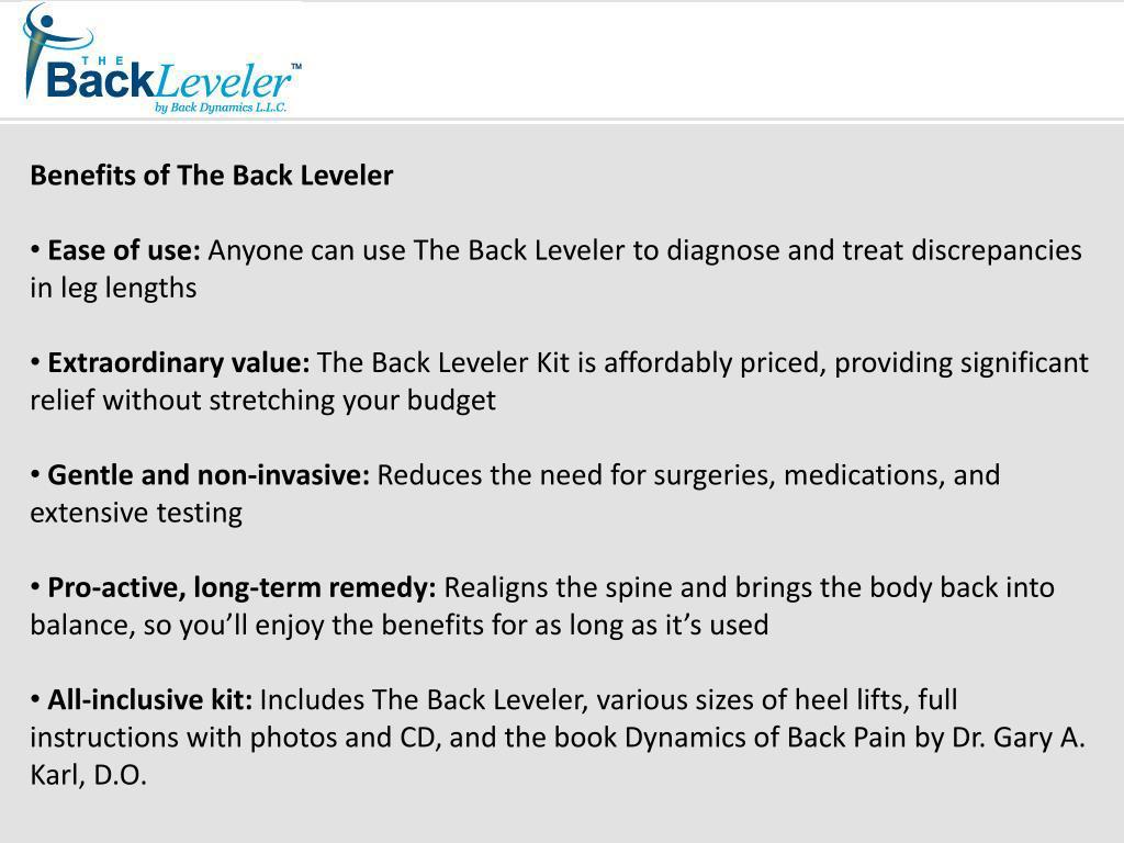 Benefits of The Back Leveler