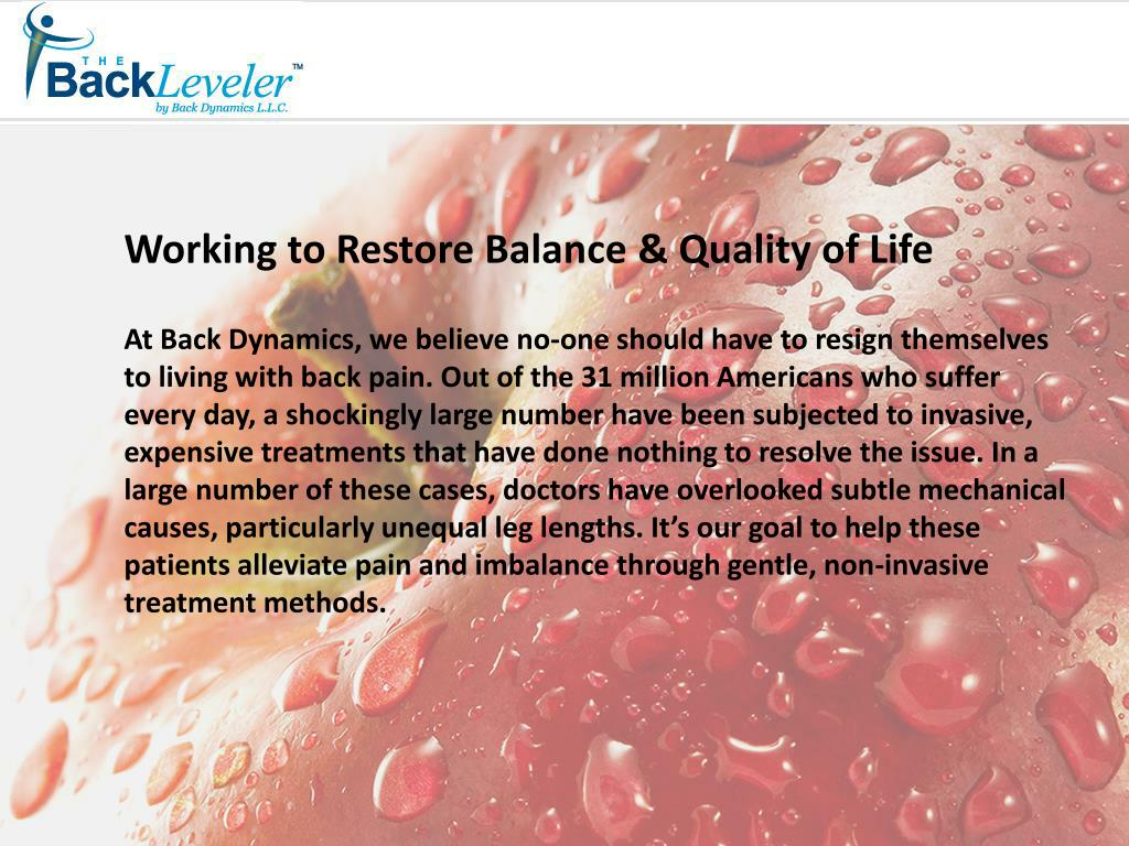 Working to Restore Balance & Quality of Life