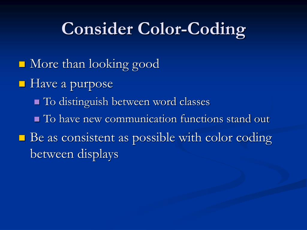 Consider Color-Coding