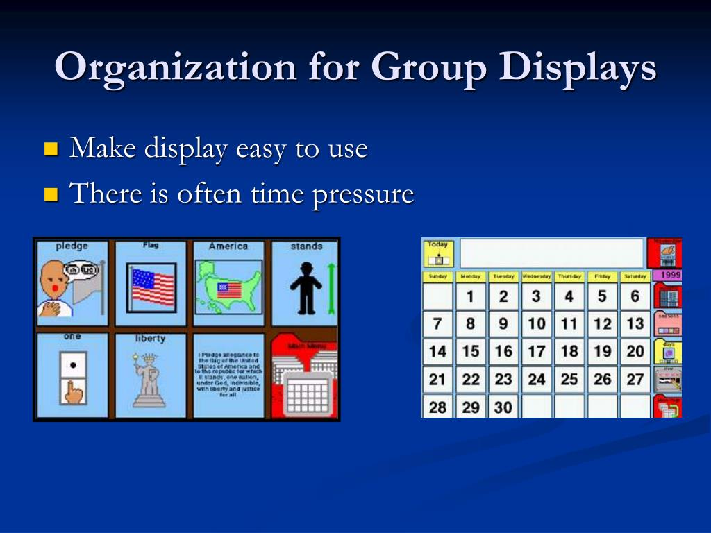 Organization for Group Displays