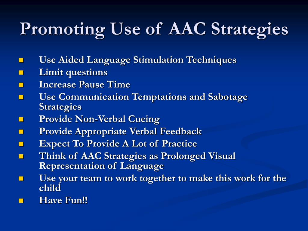 Promoting Use of AAC Strategies