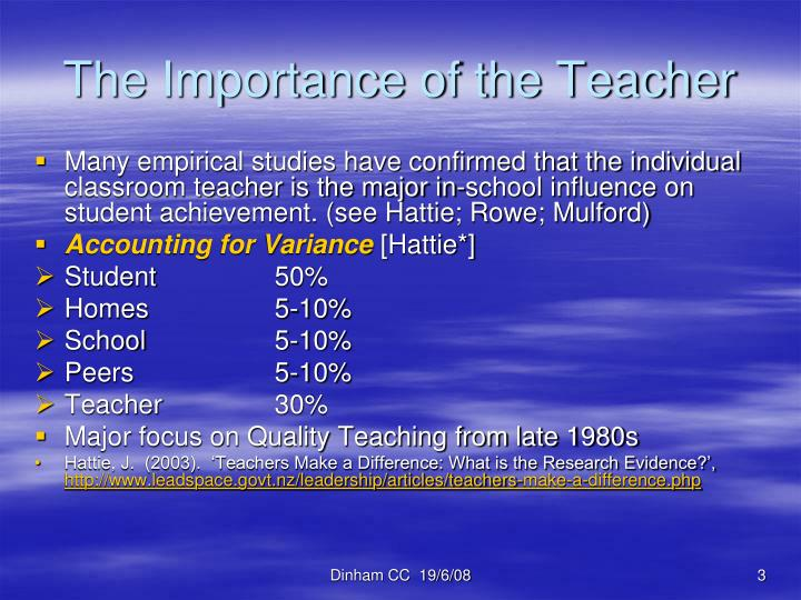 The importance of the teacher
