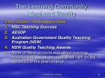 the learning community ideal and reality