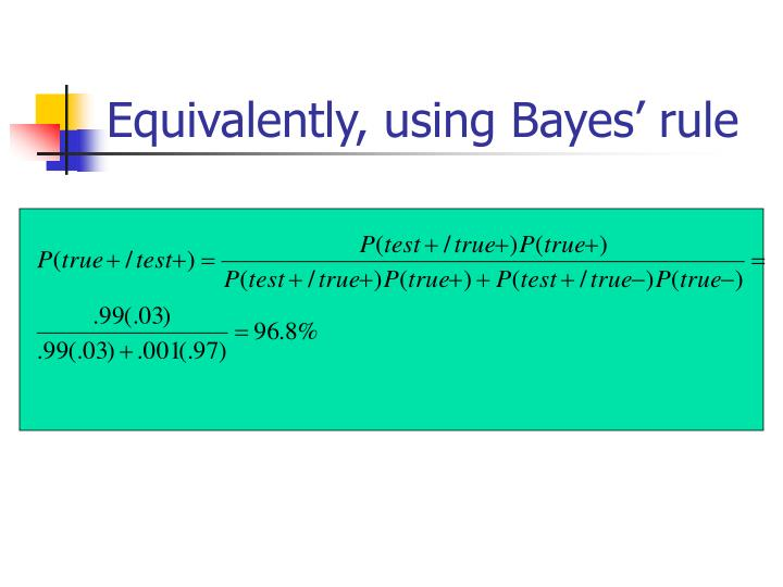 Equivalently, using Bayes' rule