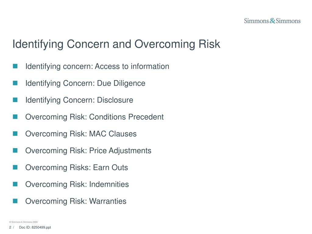 Identifying Concern and Overcoming Risk