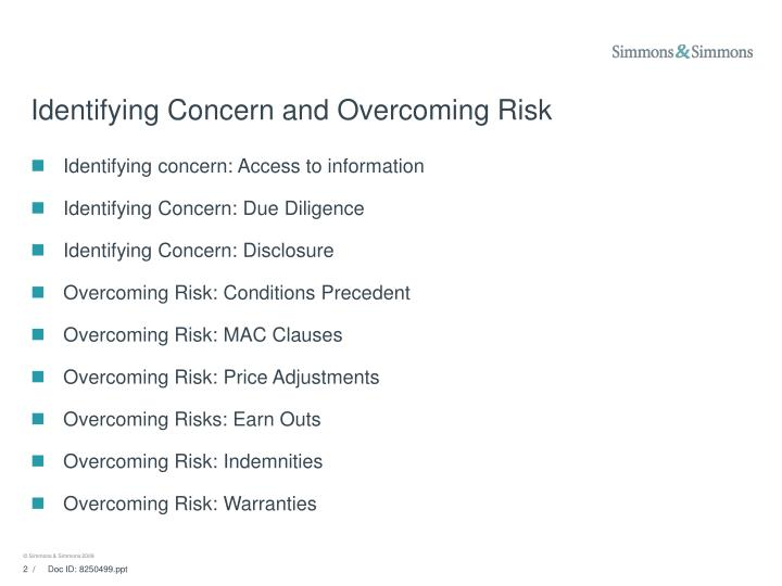 Identifying concern and overcoming risk l.jpg