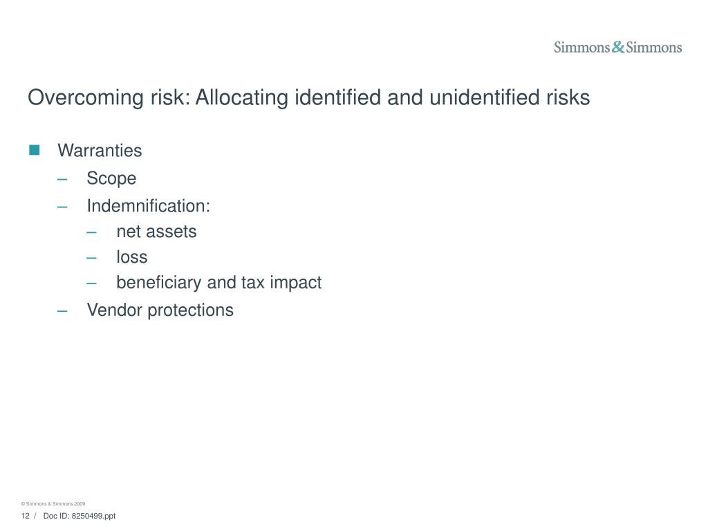 Overcoming risk: Allocating identified and unidentified risks