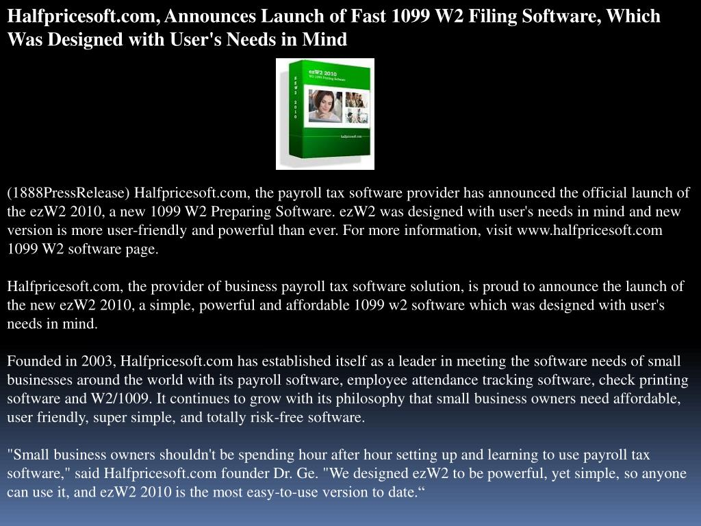 Halfpricesoft.com, Announces Launch of Fast 1099 W2 Filing Software, Which Was Designed with User's Needs in Mind
