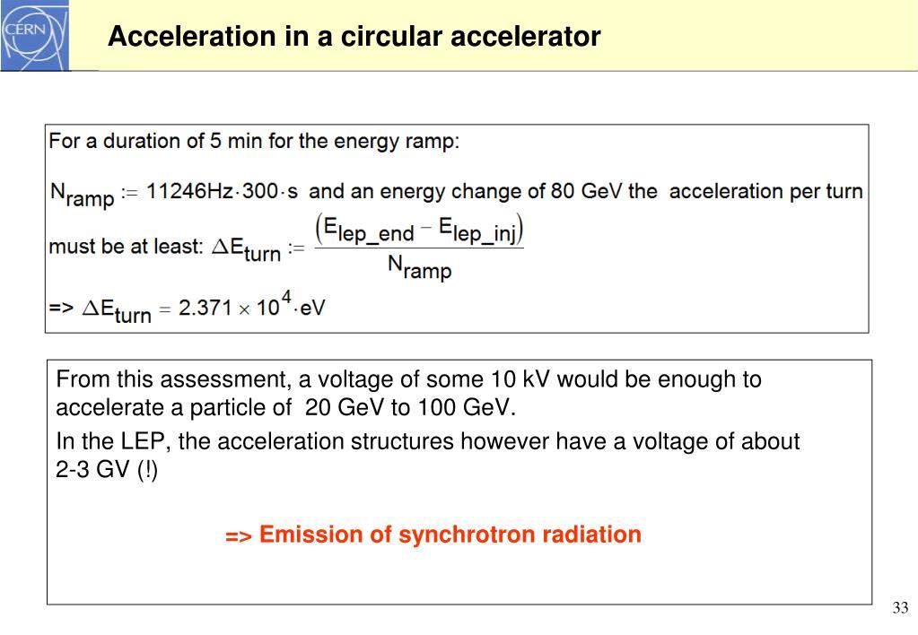Acceleration in a circular accelerator