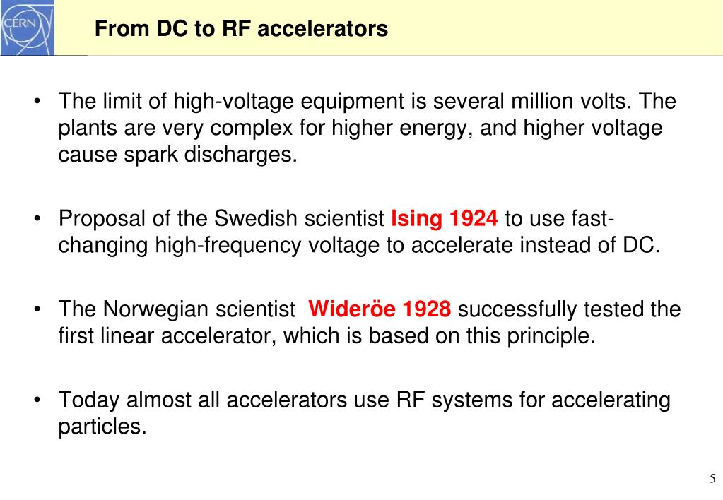 From DC to RF accelerators