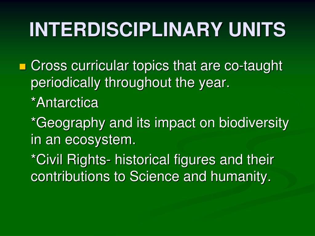 INTERDISCIPLINARY UNITS