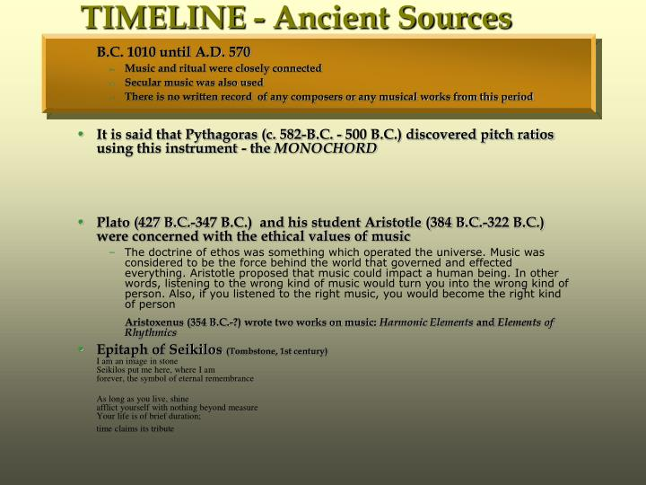 Timeline ancient sources