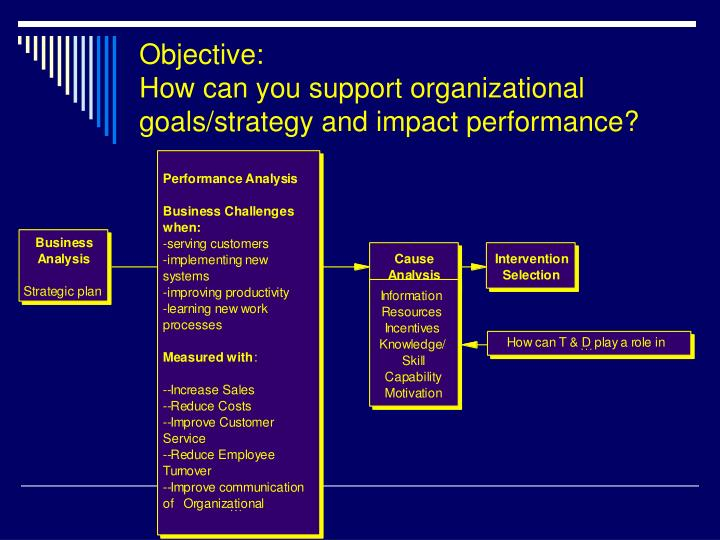 Objective how can you support organizational goals strategy and impact performance