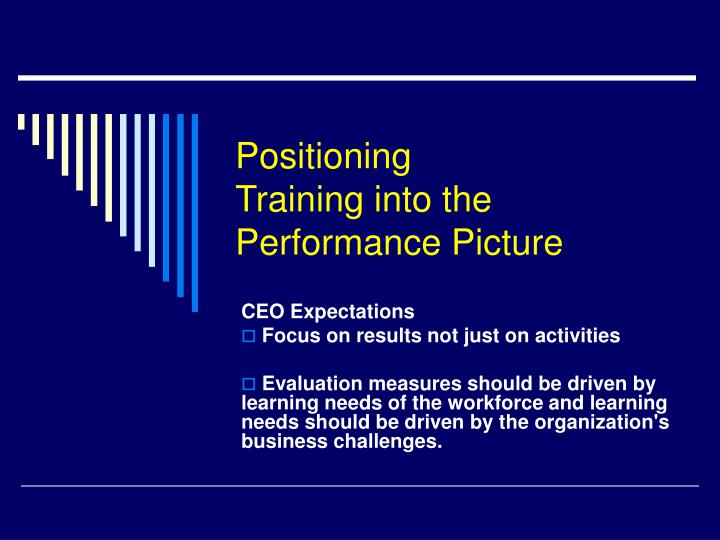 Positioning training into the performance picture l.jpg