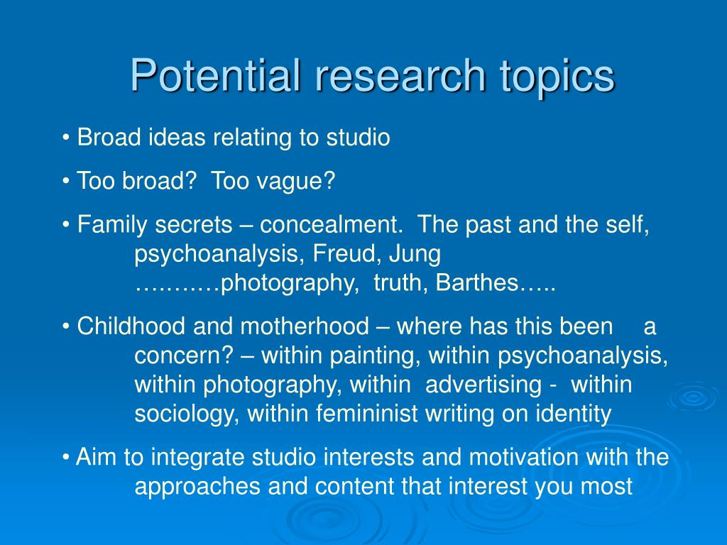 Potential research topics