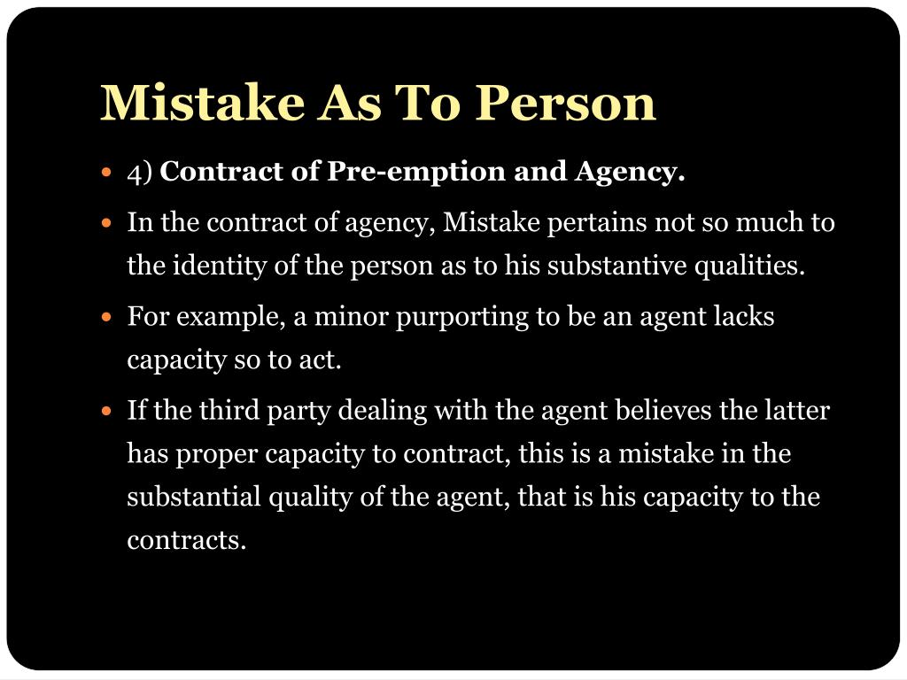 Mistake As To Person