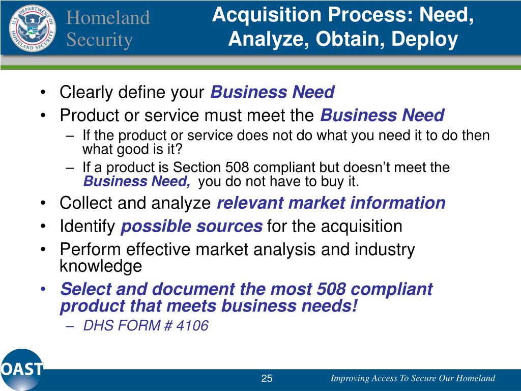 Acquisition Process: Need, Analyze, Obtain, Deploy