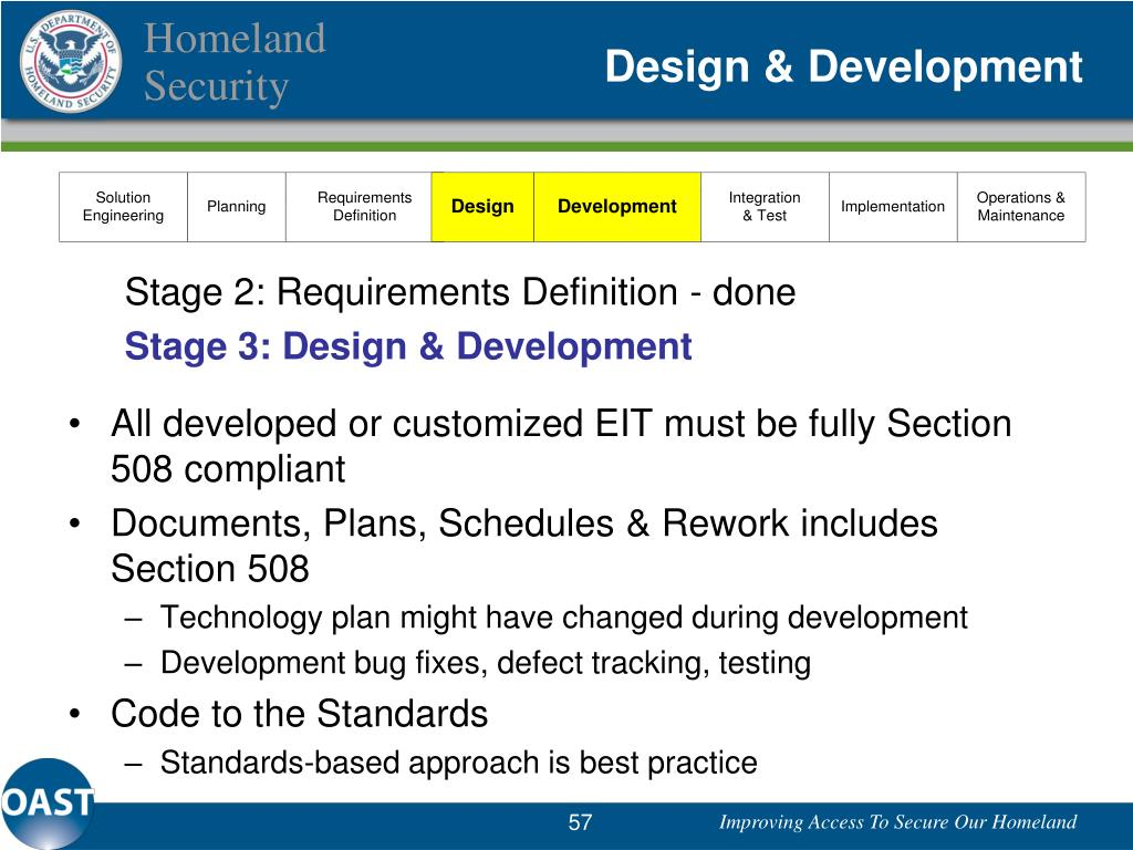 requirements defined, now at design and development