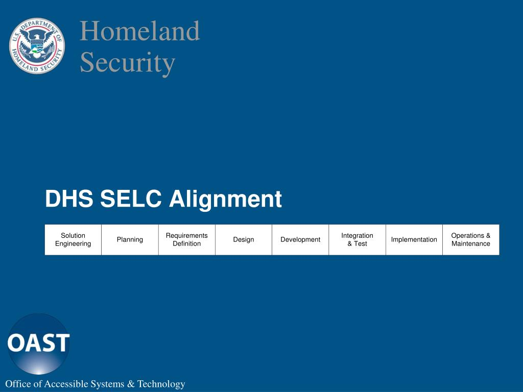 DHS SELC Alignment
