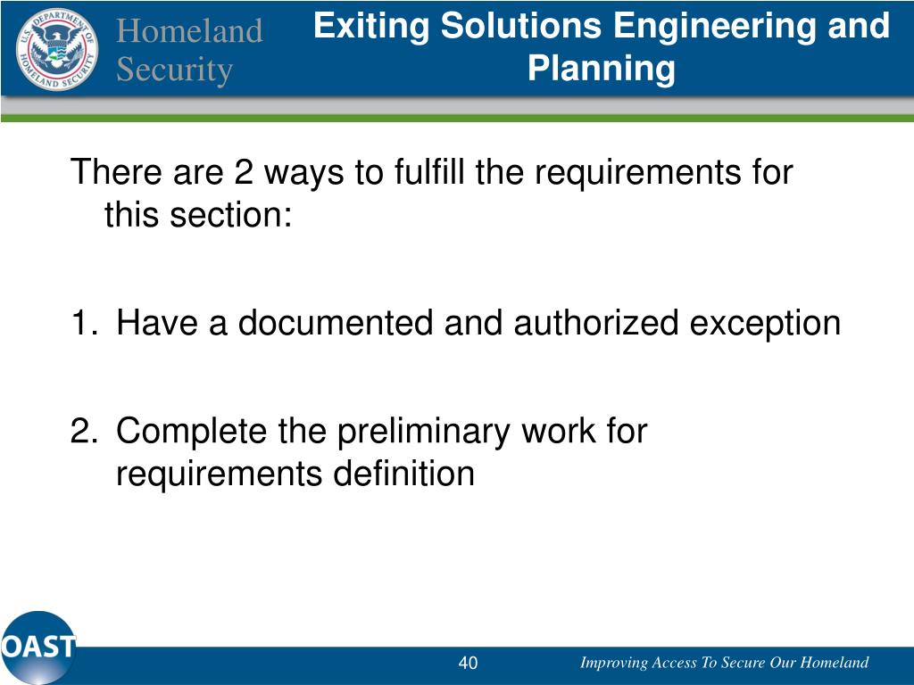 Exiting Solutions Engineering and Planning