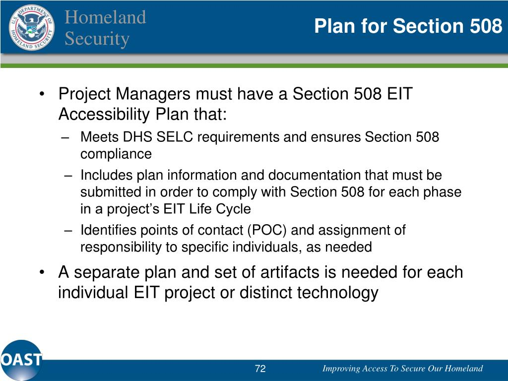 Plan for Section 508