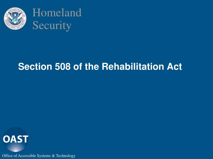 Section 508 of the rehabilitation act
