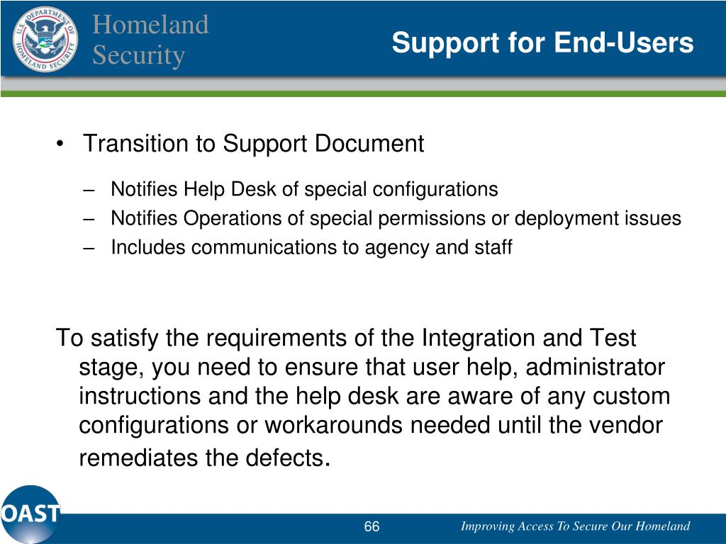 Support for End-Users