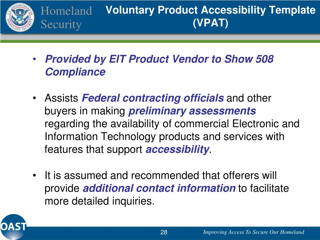Voluntary Product Accessibility Template (VPAT)