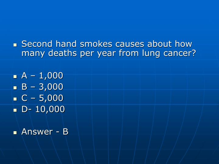 Second hand smokes causes about how many deaths per year from lung cancer?