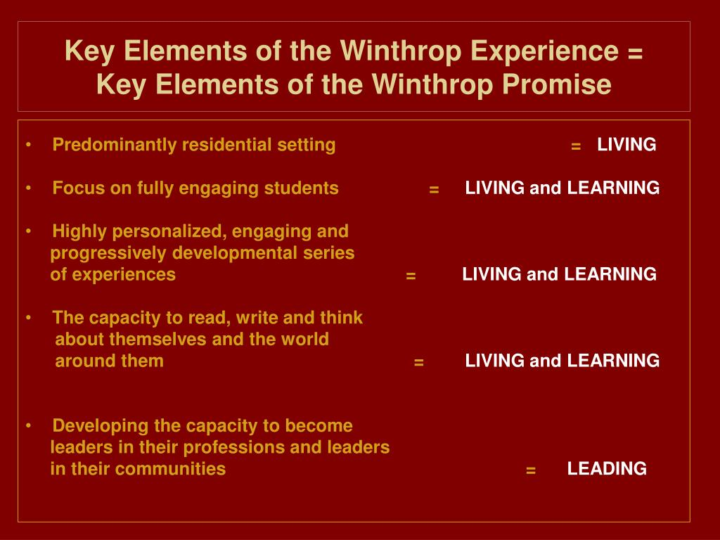 Key Elements of the Winthrop Experience =