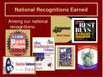 national recognitions earned