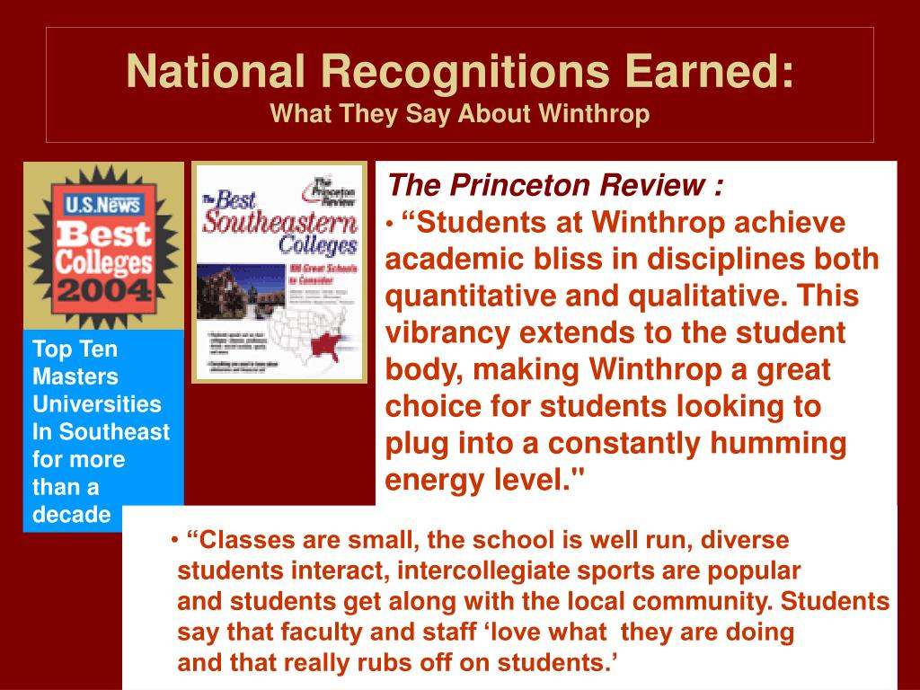 National Recognitions Earned: