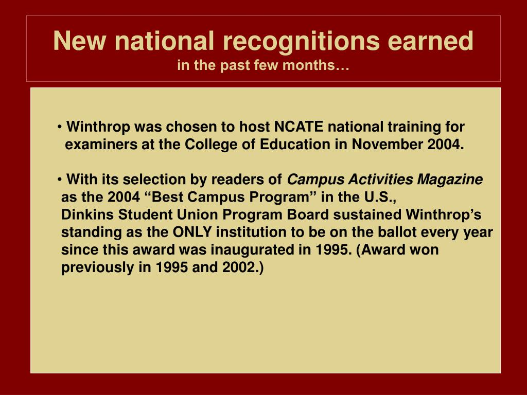New national recognitions earned