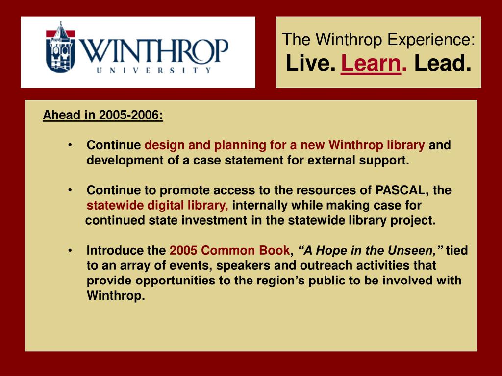 The Winthrop Experience: