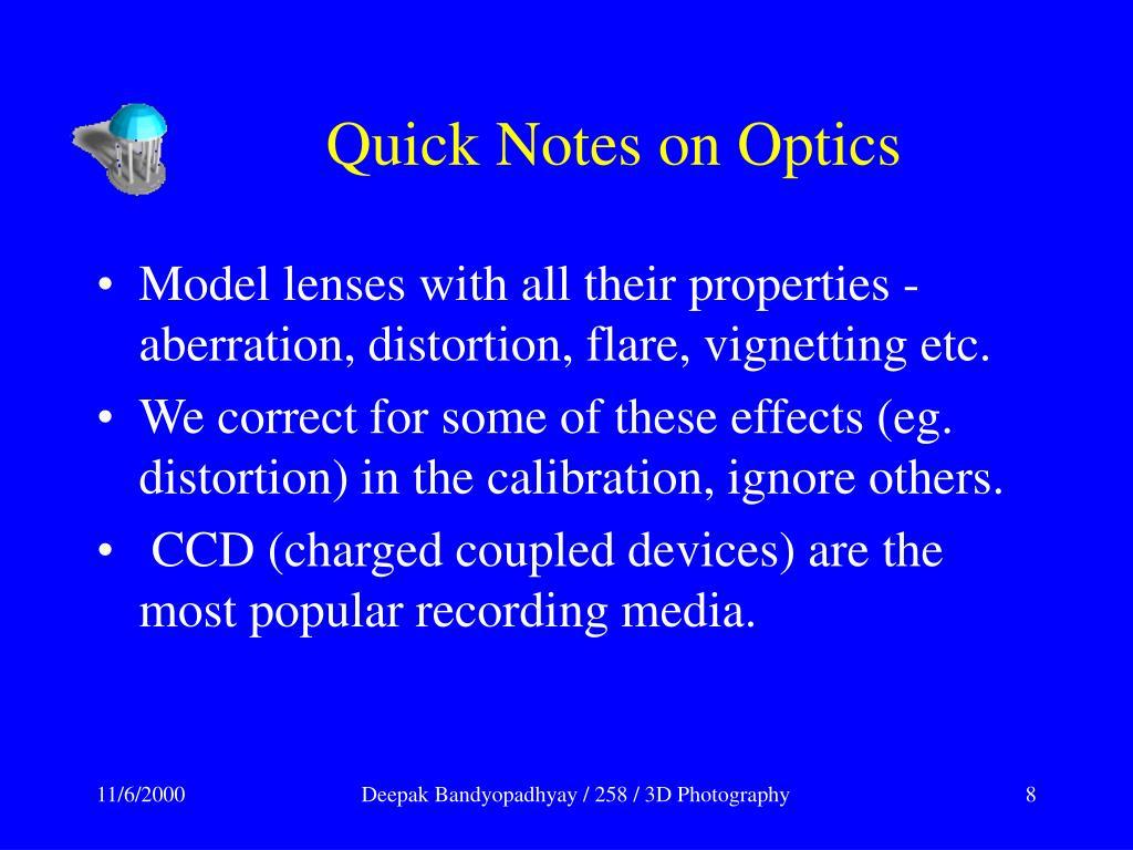 Quick Notes on Optics