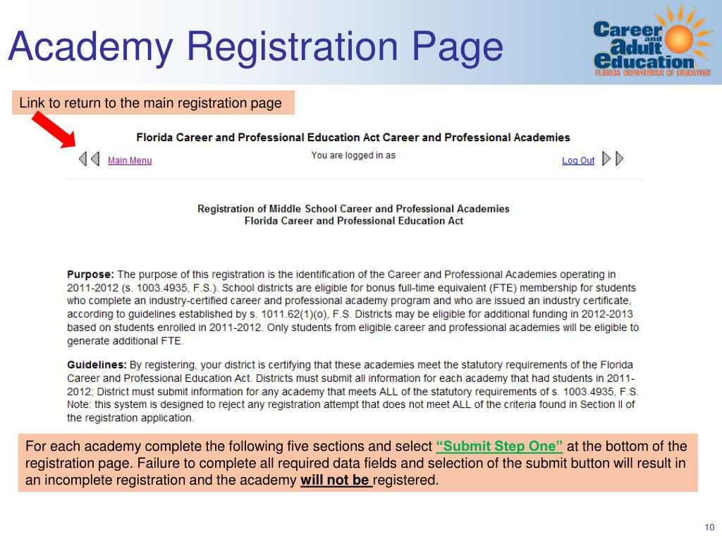Academy Registration Page