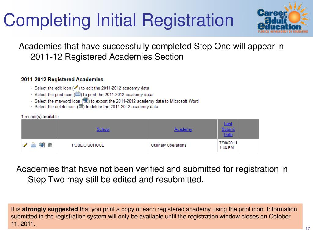 Completing Initial Registration