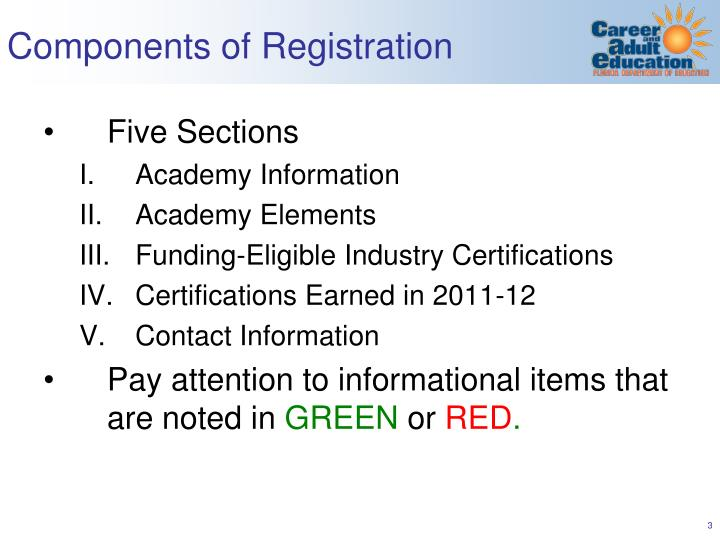 Components of registration