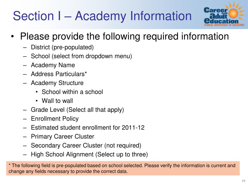 Section I – Academy Information