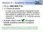 section ii academy elements